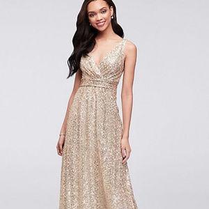 David's Bridal Dresses - David's Bridal Sequin V-Neck Bridesmaid Dress